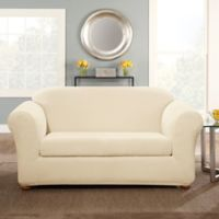 Sure Fit® Stretch Pinstripe 2-Piece Loveseat Slipcover in Cream