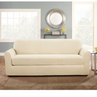 Sure Fit® Stretch Pinstripe 2-Piece Sofa Slipcover in Cream