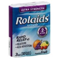 Rolaids® Ultra Strength 3 Rolls 30-Count Chewable Antacid Tablets in Assorted Fruit