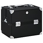Soho Large Textured Diamond Train Case in Black