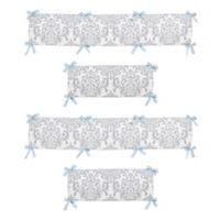 Sweet Jojo Designs Avery Crib Bumper in Blue and Grey