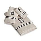 "Avanti Monogram Block Letter ""B"" Bath Towel in Ivory"