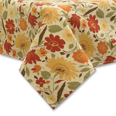 Blooms Laminated Fabric 70 Inch Round Tablecloth In Brick