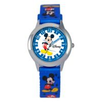 Disney® Children's Stainless Steel Mickey Mouse Time Teacher Watch in Blue