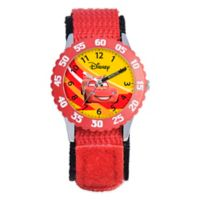 Disney® Children's Racing Lightning McQueen Time Teacher Watch in Stainless Steel with Red Strap