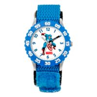 Marvel Children's 32mm Captain America Time Teacher Watch in Stainless Steel with Blue Strap