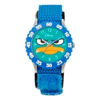 Disney® Children's Agent P Time Teacher Numbered Bezel Watch in Stainless Steel w/Blue Strap