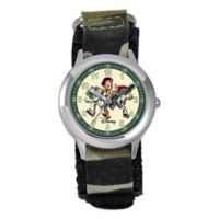 "Disney® Children's 30mm ""Toy Story"" Time Teacher Watch in Stainless Steel with Camo Wrist Strap"