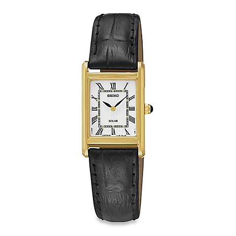 Seiko Ladies Square Solar Watch In Goldtone Stainless