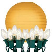 10-Count Round Paper Lantern String Lights in Orange