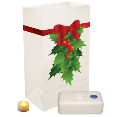Battery Operated Luminaria Kit with Holly Design (Set of 12)
