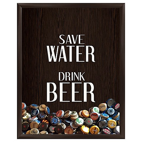Buy save water drink beer graphic shadowbox from bed bath for Beer bottle picture frame