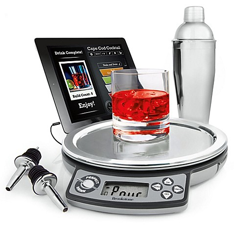 Brookstone perfect drink app controlled smart bartending for Perfect drink smart scale