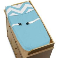 Sweet Jojo Designs Chevron Changing Pad Cover in Turquoise and White