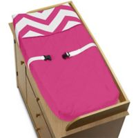 Sweet Jojo Designs Chevron Changing Pad Cover in Pink and White