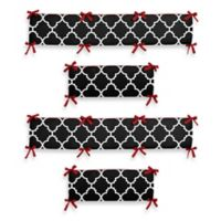 Sweet Jojo Designs Trellis 4-Piece Crib Bumper in Red/Black