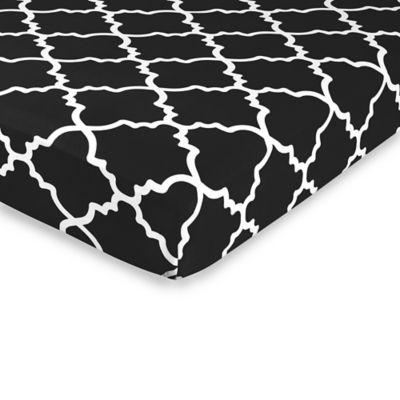 Sweet jojo designs trellis print fitted crib sheet in black white