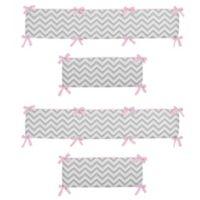 Sweet Jojo Designs Zigzag 4-Piece Crib Bumper in Pink/Grey