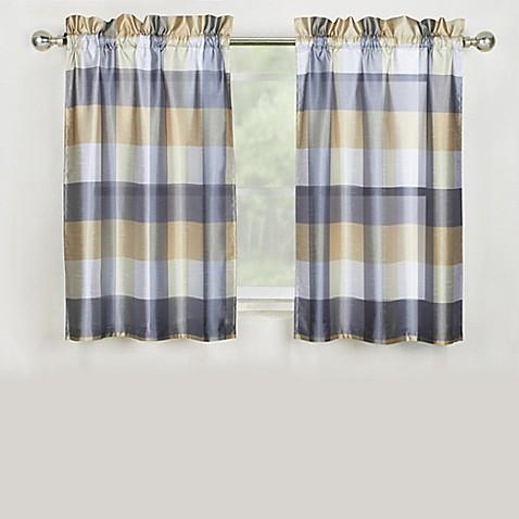 Mystic plaid 36 inch kitchen window curtain tier pair in grey bed bath beyond for 36 inch bathroom window curtains