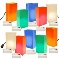 Electric Luminaria Kit with 10-Count Multicolor LumaBase Lanterns
