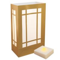 Battery Operated LumaLite Luminaria Kit with Gold Lantern Bags with Timer (6 Count)