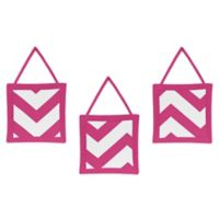 Sweet Jojo Designs Chevron 3-Piece Wall Hanging Set in Pink and White