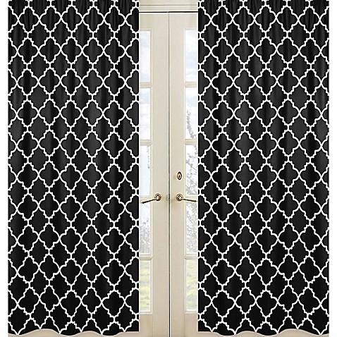 sweet jojo designs trellis window panel pair in black and