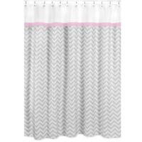 Sweet Jojo Designs Zigzag Shower Curtain In Pink Grey