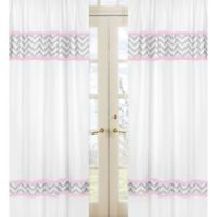 Sweet Jojo Designs Zigzag Window Panel Pair in Pink/Grey