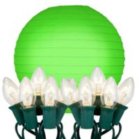 Electric String Lights with 10-Inch Green Paper Lanterns (Set of 10)