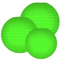 Round Paper Lanterns in Green (Set of 6)