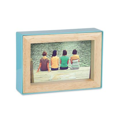 umbra fotoblock double sided 4 inch x 6 inch frame in surf