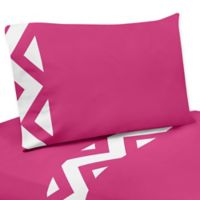 Sweet Jojo Designs Chevron 4-Piece Twin Sheet Set in Pink and White