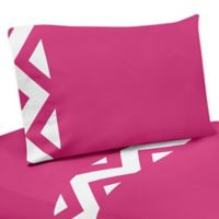 Sweet Jojo Designs Chevron 4-Piece Queen Sheet Set in Pink and White