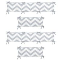 Sweet Jojo Designs Chevron Crib Bumper in Grey/White