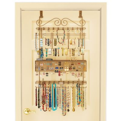 Captivating Over The Door Jewelry Organizer In Bronze