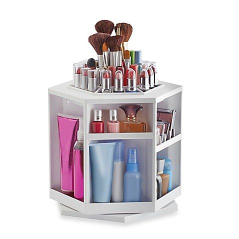 Lori Greiner 174 Spinning Cosmetic Organizer In White Bed