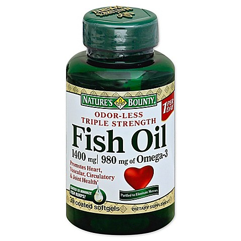 Nature 39 s bounty 30 count triple strength fish oil 1360 mg for How many mg of fish oil per day