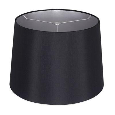 mix match medium 14 inch shantung hardback drum lamp shade in black. Black Bedroom Furniture Sets. Home Design Ideas