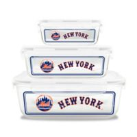 MLB New York Mets 6-Piece Glass Food Container Set