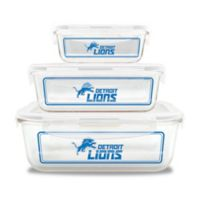 NFL Detroit Lions 6-Piece Glass Food Container Set