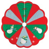 Slip Sliding Snowmen 54-Inch Christmas Tree Skirt