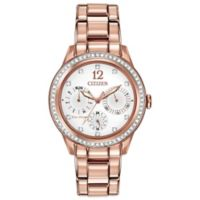 Citizen Eco-Drive Ladies' Silhouette Crystal Multi-Function Watch in Rose Goldtone Stainless Steel