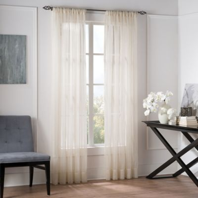 valeron natural sheer 84inch window curtain panel in linen