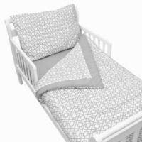 TL Care® 4-Piece Percale Toddler Bedding Set in Grey Lattice