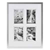 Real Simple® Silver Finish Wall Frame with White Double Mat for 4 4-Inch x 6-Inch Photos