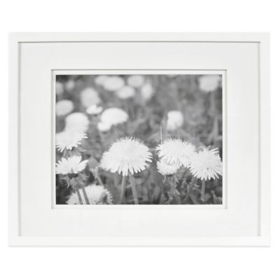 real simple white wood wall frame with white double mats for 14 inch x