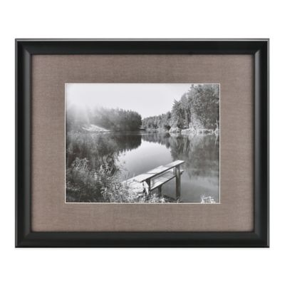 real simple deep black wood wall frame with grey mat for 14 inch x