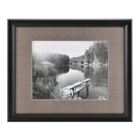Real Simple® Deep Black Wood Wall Frame with Grey Mat for 14-Inch x 11-Inch Photo