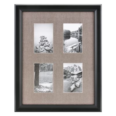 real simple deep black wood wall frame with grey mat for 4 6 inch
